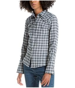 Max Studio London Womens Ruffled Button Up Shirt