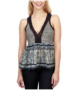 Lucky Brand Womens Border Knit Blouse