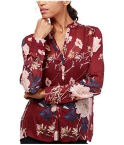 Lucky Brand Womens Ruffled Floral-Print Button Up Shirt