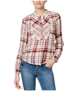 Lucky Brand Womens Plaid Henley Shirt