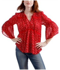 Lucky Brand Womens Lace Detail Peasant Blouse