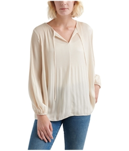 Lucky Brand Womens Pleated Peasant Blouse