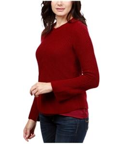 Lucky Brand Womens Nico Chiffon-Hem Knit Sweater