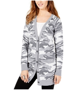 Lucky Brand Womens Grey Camouflage V Neck Cardigan Sweater