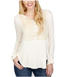 Lucky Brand Womens Velvet Burnout Henley Shirt