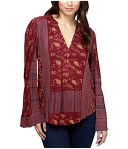 Lucky Brand Womens Mixed-Print Peasant Blouse