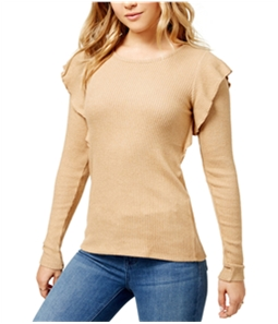Lucky Brand Womens Ribbed Ruffle Knit Blouse