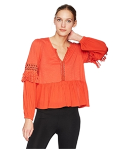 Lucky Brand Womens Cutout Illusion Peasant Blouse