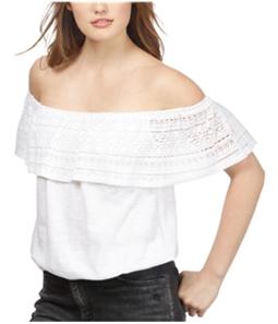 Lucky Brand Womens Crochet Off the Shoulder Blouse