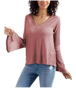 Lucky Brand Womens Flare Sleeve Thermal Blouse