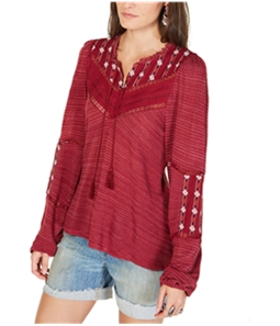 Lucky Brand Womens Embroidered Peasant Blouse