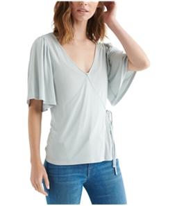 Lucky Brand Womens Sand Wash Wrap Blouse