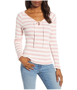 Lucky Brand Womens Lace-Up Neck Pullover Blouse