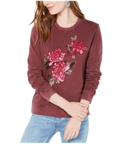 Lucky Brand Womens Floral Embroidered Graphic Sweatshirt