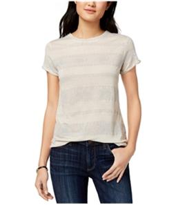 Lucky Brand Womens Metallic Stripe Basic T-Shirt