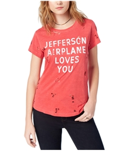 Lucky Brand Womens Ripped Jefferson Airplane Graphic T-Shirt