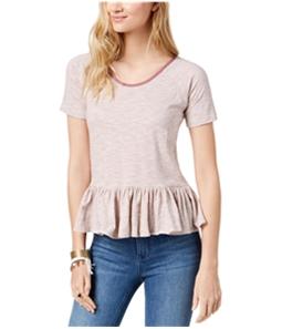 Lucky Brand Womens Striped Peplum Hem Basic T-Shirt