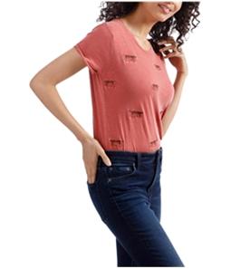 Lucky Brand Womens Cheetah Basic T-Shirt
