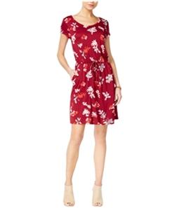 Lucky Brand Womens Floral Drawstring Shift Dress