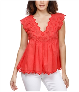 Lucky Brand Womens Eyelet Peasant Blouse