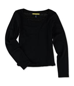 Aeropostale Womens Crochet Back LS Embellished T-Shirt
