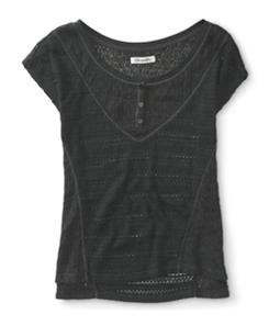 Aeropostale Womens Sheer Mixed Knit Henley Sweater