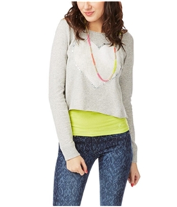 Aeropostale Womens Raglan Rhinestone Heart Sweatshirt