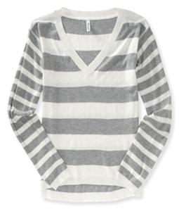 Aeropostale Womens Striped V Neck Knit Sweater