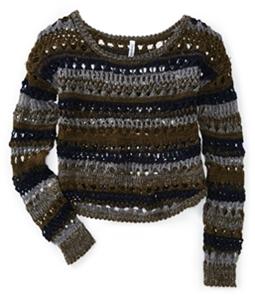 Aeropostale Womens Tri Tone Crochet Knit Sweater