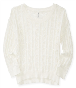 Aeropostale Womens Sheer Cable Pullover Sweater
