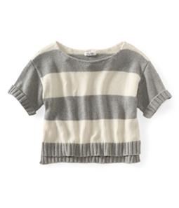 Aeropostale Womens Stripe Wide-fit Cropped Knit Sweater