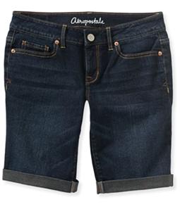 Aeropostale Womens Cuffed Dark Wash Casual Bermuda Shorts