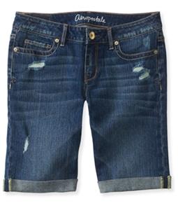 Aeropostale Womens Medium Wash Destroyed Casual Bermuda Shorts