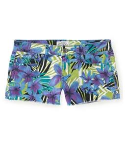 Aeropostale Womens Floral Print Shorty Casual Denim Shorts