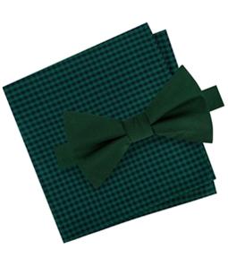 Tommy Hilfiger Mens Silk Gingham Bow Tie and Pkt Sq Neck Tie Set