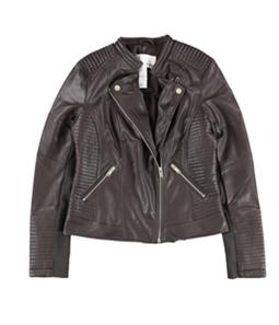 bar III Womens Fauxz Leather Motorcycle Jacket
