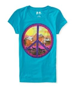 Aeropostale Girls Glitter Peace Graphic T-Shirt