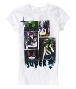Aeropostale Girls Glitter Super Star Graphic T-Shirt
