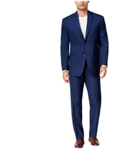 Marc New York Mens Tonal Plaid Two Button Formal Suit