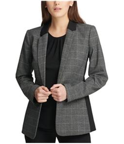 DKNY Womens Plaid One Button Blazer Jacket