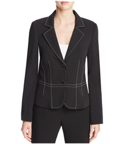 Finity Womens Topstitched Two Button Blazer Jacket