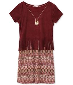Speechless Girls Faux-Suede Knit A-line Dress