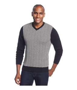Geoffrey Beene Mens Front Intarsia V Neck Pullover Sweater
