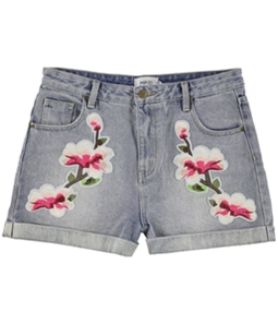 MinkPink Womens Floral Patched Casual Denim Shorts