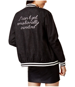 MinkPink Womens Denim Bomber Jacket