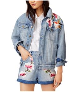 MinkPink Womens Patched Denim Jacket