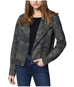 Sanctuary Clothing Womens Camo-Print Suede Motorcycle Jacket