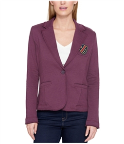 Tommy Hilfiger Womens Patched One Button Blazer Jacket