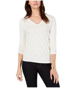 Tommy Hilfiger Womens Argyle Embellished Pullover Sweater
