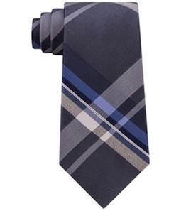 Kenneth Cole Mens Onyx Plaid Self-tied Necktie